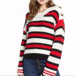 NWT BP.  Button Sweater Ivory Caitlyn Stripe red